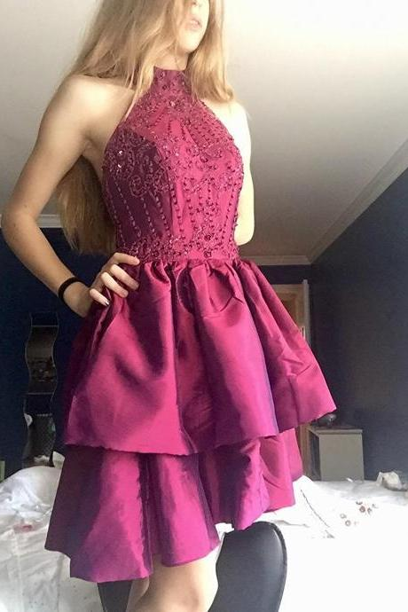 Custom Made Pink High Neck Beaded Embroidered Ruffled Knee-Length Satin Short Evening Dress, Homecoming Dress, Cocktail Dresses, Graduation Dresses