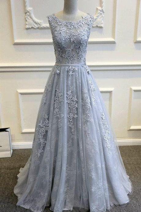 Gray Blue Lace Wedding Dress, Elegant Blue Gown, A-line Wedding Dress, Lace Tulle Wedding Dress, Custom Made Wedding Dress, Dusty Blue Wedding Dress