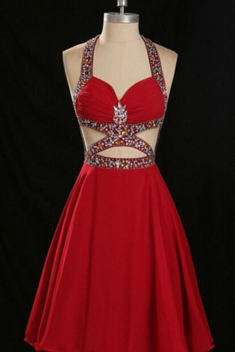 Homecoming Dresses,Rhinestone Homecoming Dress,Open Back Homecoming Dress,Red Homecoming Dress,Sexy Homecoming Dress.Cheap