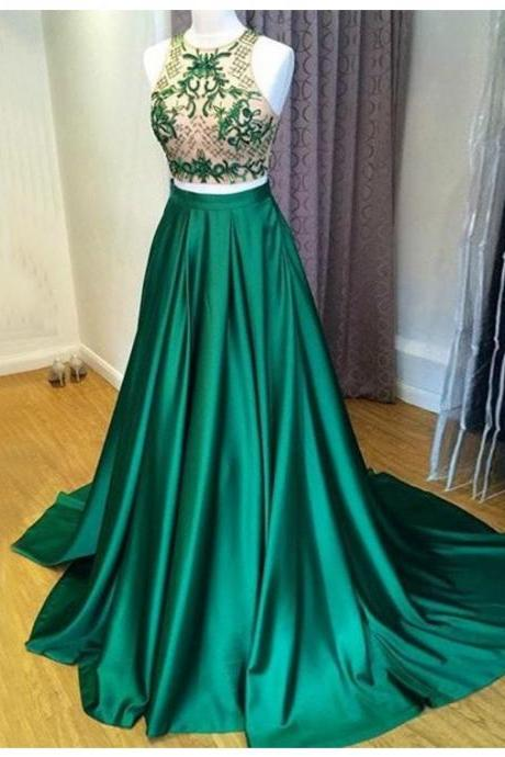 Green Jewel Sweep Train Prom Dress with Embroidery, satin prom dresses