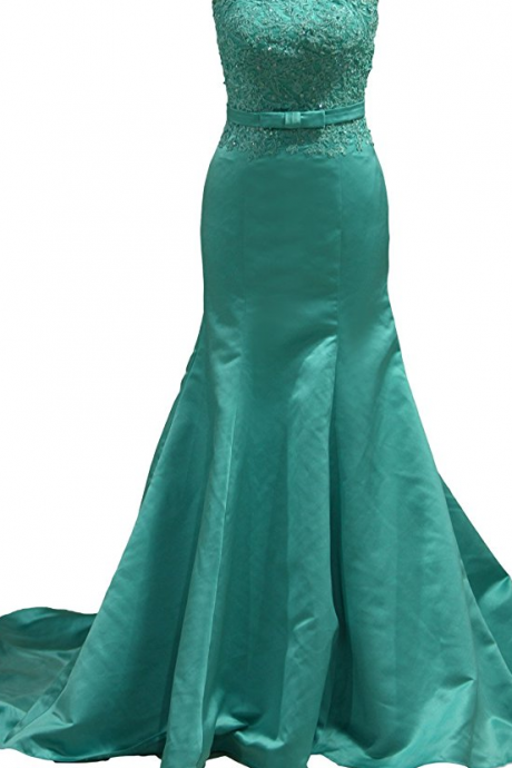 Women's Strapless Mermaid Satin and Sash Prom and Evening Dresses