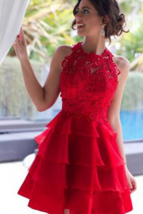 Red Homecoming Dress,High Neck Homecoming Dress,Unique Homecoming Dress, Popular Homecoming Dress,Graduation Dress , Homecoming Dresses