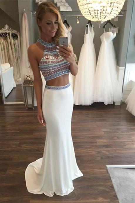 Twp Pieces Prom Dresses,Off-shoulder Prom Dress,Mermaid Prom Dress,High Quality Prom Dress,