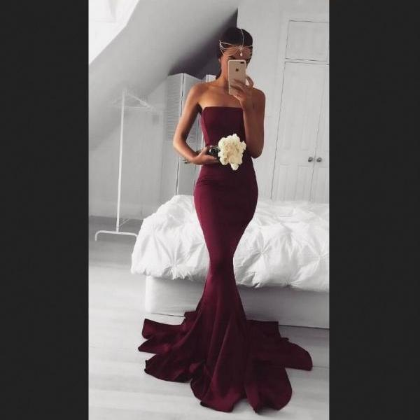 Satrapless Prom Dresses,Long Prom Dress,Mermaid Prom Dress,Simple Prom Dress,Burgundy Prom Dress,Sexy Evening Dresses,Evening Gowns,Prom Dresses For Teens,Prom Dresses