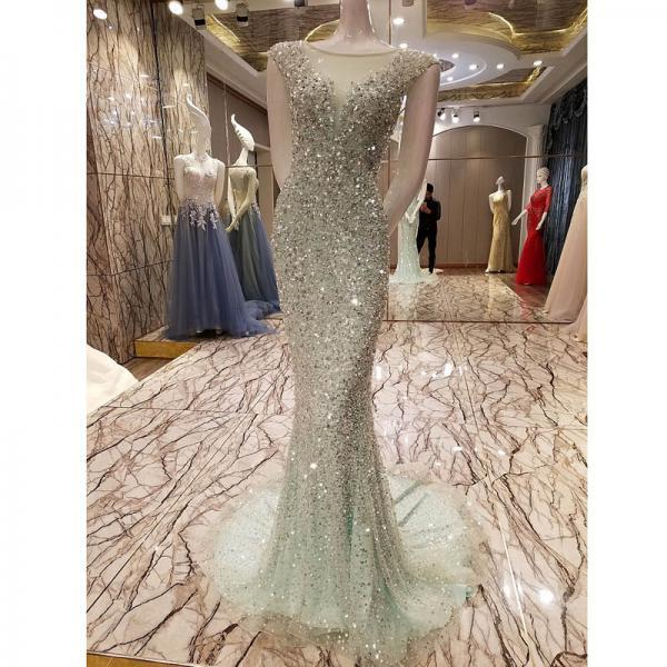 New Arrival luxurious Scoop Neck Floor-Length Mint Green Prom Dress Beaded Crystals Tulle Formal Mermaid Evening Dresses
