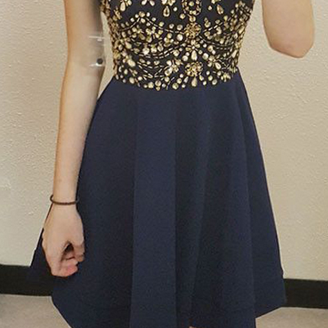 efdc5dc33e5 ... Chiffon Halter-Neck Dark-Navy Gold-Crystals Luxury Homecoming Dresses  ...