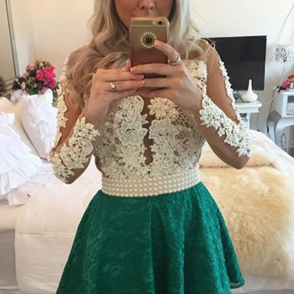Homecoming Dresses,Junior Homecoming Dresses,Green Long sleeve homecoming dress, Sexy see through homecoming dress, short homecoming dresses, homecoming dress, short prom dresses, homecoming dress