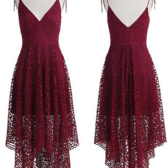 Lace Homecoming Dresses,Cheap homecoming dresses ,Charming Prom Dress,Burgundy Lace Prom Dresses