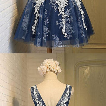 Elegant Homecoming Dresses,A-line Homecoming Dresses,Applique Homecoming Dresses,Navy Blue Homecoming Dresses,Bandage Homecoming Dresses,Short Prom Dresses,Party Dresses