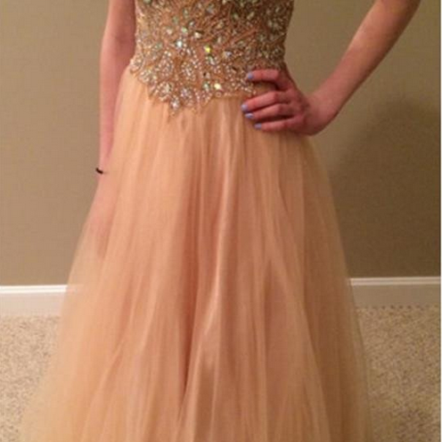 Sexy V-Neck Tulle Prom Dress, Sparkle Rhinestone Evening Dresses,Long Prom Dress