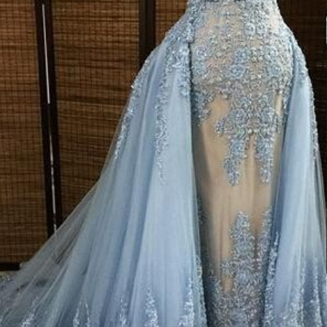 Gorgeous Evening Dresses,Appliques Prom Dresses,Light Blue Prom Dresses,Beaded Prom Dresses,Sweep Train Prom Dresses,Party Dresses
