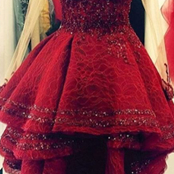 Burgundy Lace Sweetheart Homecoming Dresses,A-line Gorgeous Party Dresses,Homecoming Dress