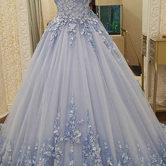 Appliques Ball Gowns Prom Dresses,Lace Up Prom Dresses,Blue Prom Dresses,Quinceanera Dresses,Sweet 16 Dresses,Engagement Prom Dresses