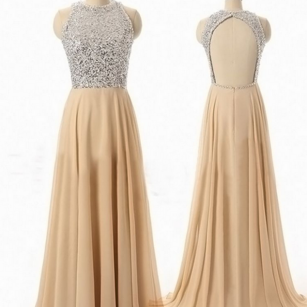 High Neck Chiffon Floor-length Dress featuring Beaded Bodice with Open Back