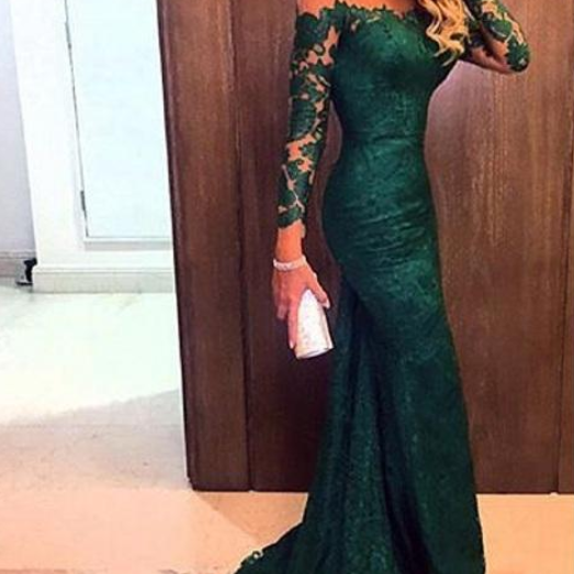 Prom Dresses,Green Prom Gowns,Green Prom Dresses 2016, Party Dresses 2016,Long Prom Gown,Prom Dress,Long Sleeves Evening Gown,Party Gown