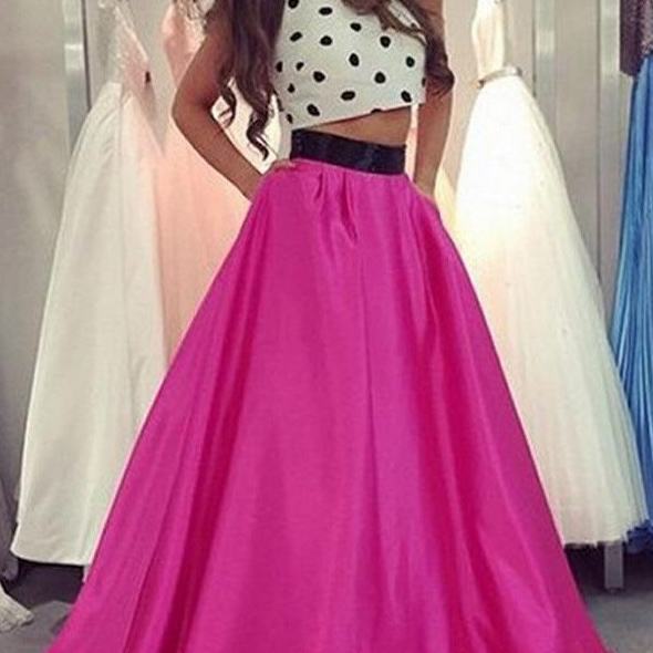 White Prom Dresses, 2 Piece Prom Gowns,2 piece Prom Dresses,Prom Dresses,Prom Gown,2016 Prom Dress For Teens