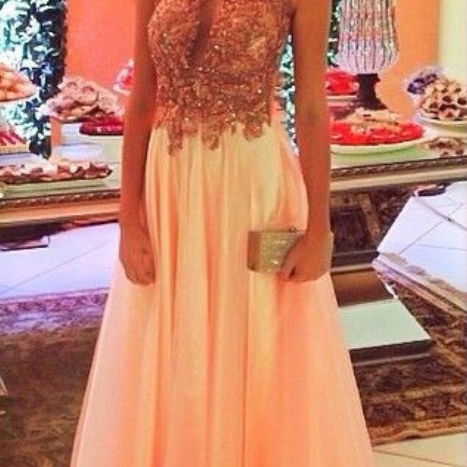 Backless Prom Dresses,Peach Prom Dress,Backless Prom Gown,Open Back Prom Dresses,Open Backs Evening Gowns,Beaded Formal Gown,Sparkle Prom Gowns For Teens Girls