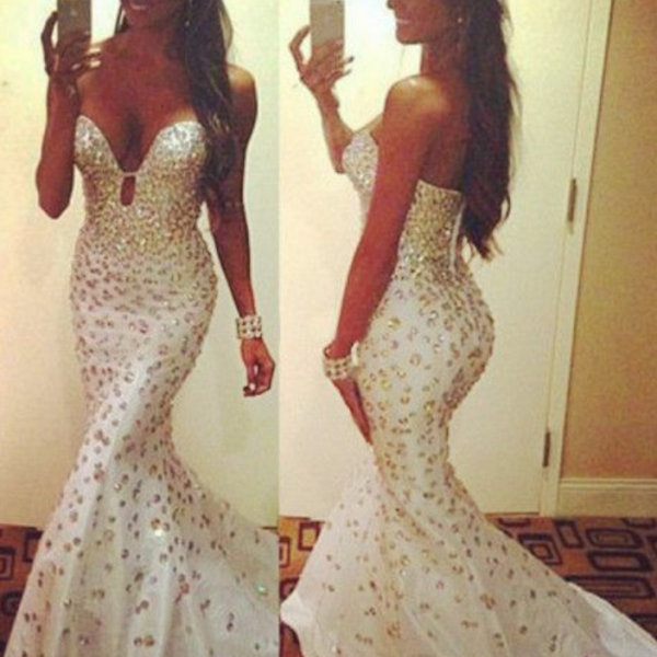 Sexy Prom Dresses,White Prom Dress,Crystals Prom Gown,Sparkly Prom Gowns,Elegant Evening Dress,Sparkle Evening Gowns,Mermaid Evening Gowns,2016 Prom Dress
