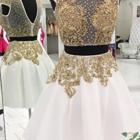 White Homecoming Dress,2 Piece Homecoming Dresses,Beading Homecoming Gowns,Short Prom Gown,Sweet 16 Dress,Homecoming Dress,2 pieces Cocktail Dress,Two Pieces Evening Gowns