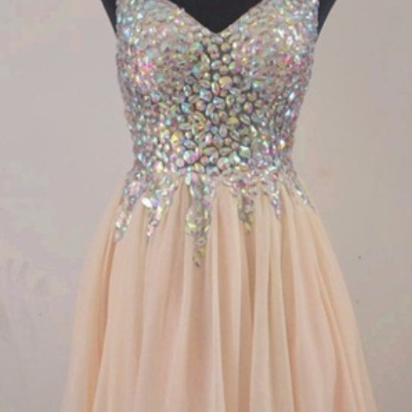 Homecoming Dress,Chiffon Homecoming Dresses,Short Prom Gown,Champagne Homecoming Gowns,2016 Homecoming Dress,Ball Gown Homecoming Dresses,2016 Sweet 16 Dress For Teens