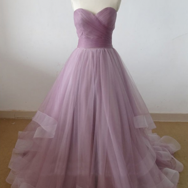 Lovely Wedding Dresses,Simple Prom Gown,Long Wedding Gown,Tulle Wedding Gowns,Ruffled Bridal Dress,Lilac Wedding Dress,Princess Brides Dress,Lilac Evening Dress
