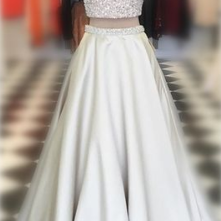 Charming Prom Dress,Sexy Two Piece Prom Dress with Beaded ,A Line Prom Dress,Open Back Evening Dress,Prom Dresses