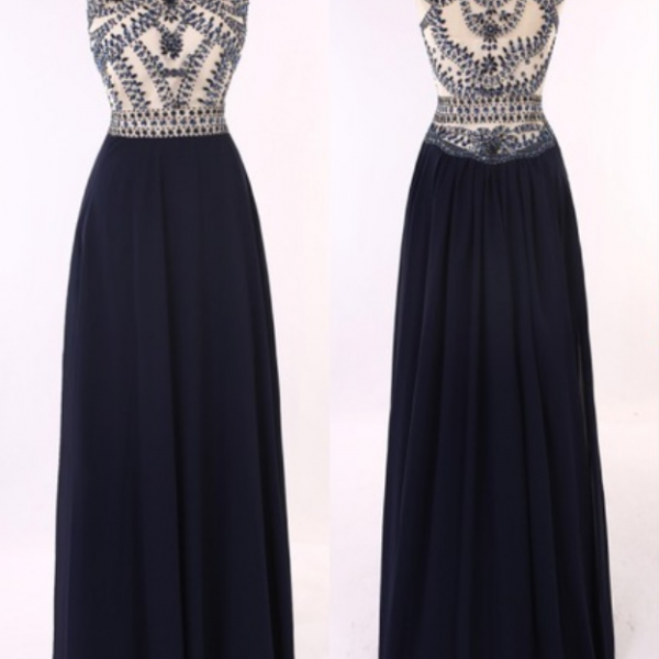 Sheer See Though Beaded Navy Blue Prom Dresses Long Prom Dresses Formal Evening Dresses