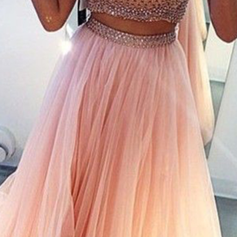 Sexy High Neck Beaded Two Piece Prom Dress Pink/Purple Girls Long Prom Dress Formal Evening Party Dress Homecoming Dress
