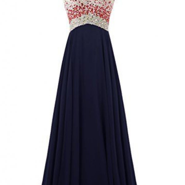Charming Evening Dress,One Shoulder Prom Dress,Beading Prom Gown,Sexy Backless Prom Party Dress