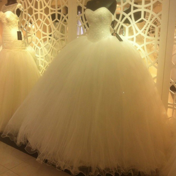 New Arrival Prom Dress,Modest Prom Dress,Sparkly Sequins Beaded Sweetheart White tulle Ball Gowns Wedding Dresses,Wedding Dresses