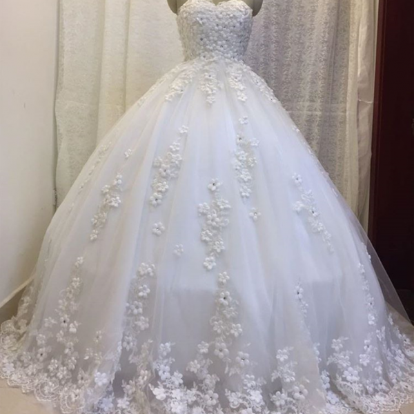 handmade flower wedding dresses ball gown 2017 floor length bride dress