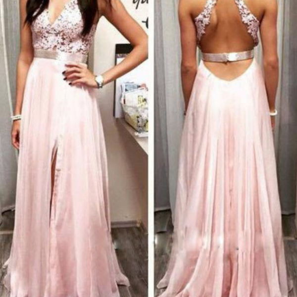 Long Chiffon High Side Slit A-line Prom Dresses Sexy Party Cocktail Dresses V-neck Chiffon Formal Evening Gowns Long Appliques Chiffon Homecoming Graduation Dresses for Girls