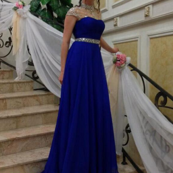 Charming Royal Blue Chiffon Prom Dress,Sexy See Through Short Sleeves Evening Dress,Shiny Beading Prom Dress