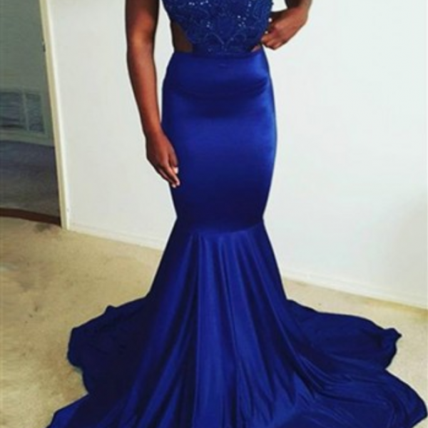 Charming Royal Blue Prom Dress,Sexy Halter Sleeveless Evening Dress,Open Back Sexy Beading Prom Dress
