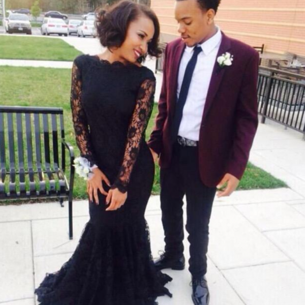 Customized Black Long Lace Prom Dress,Sexy See Through Long Sleeves Evening Dress,Sheath Mermaid Prom Dress