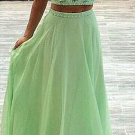 CharmingTwo Pieces Emerald Prom Dress,Beading Halter Evening Dress,Sexy Backless Prom Dress
