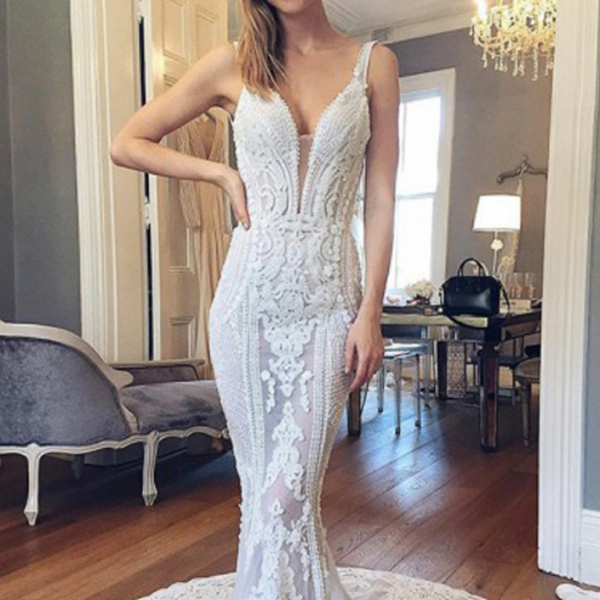 Long Wedding Dress, Lace Wedding Dress, See Through Bridal Dress, Backless Wedding Dress