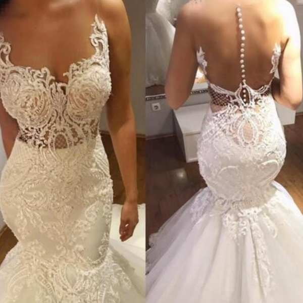 Charming Mermaid Wedding Dresses Sheer Neck Applique Court Train Illusion Back Button Back