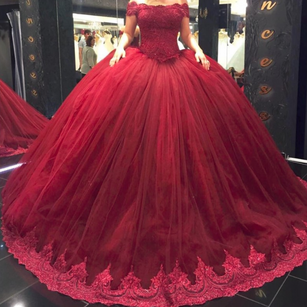 Burgundy Ball Gown Wedding Dresses Short Lace Straps Off Shoulder Princess Wedding Dress