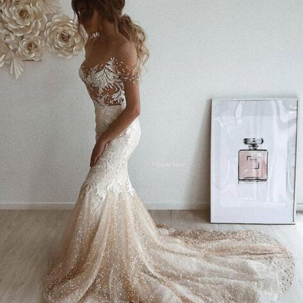 Mermaid Tulle Champagne Wedding Dresses Off the Shoulder Pearls Gorgeous Bridal Gowns