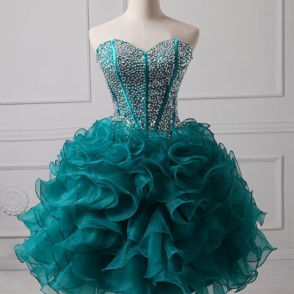 Short Homecoming Dress, Organza Homecoming Dress, Sweet Heart Homecoming Dress