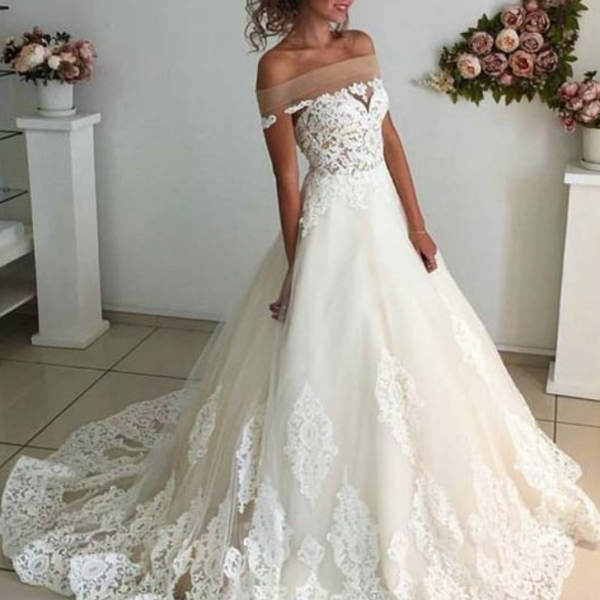 Affordable Lace Unique Wedding Dress,Off the Shoulder Online Charming Long Wedding Dresses,Elegant Tulle Wedding Dresses, Wedding Dresses