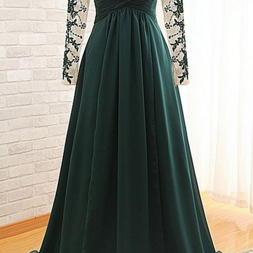 Dark Green Floor Length Lace Appliquéd Mesh Long Sleeved Sweetheart Evening Dress Featuring Chapel Train and Keyhole Back