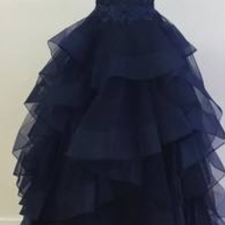 V-neck Navy Blue Tulle Lace Beaded Prom Dresses, Cheap Long Prom Dresses, Prom Dresses