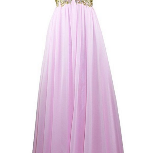 Women's Gold Embroidery Beaded Prom Evening Formal Dress