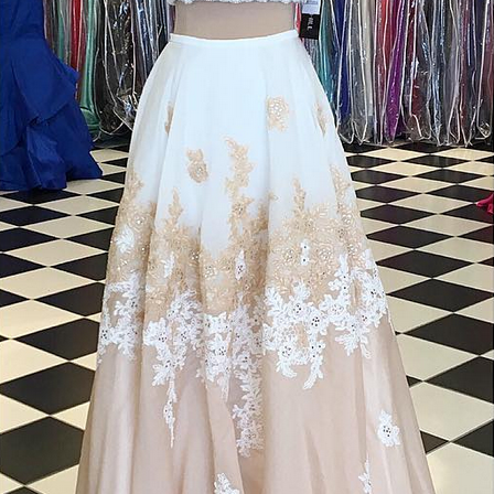 Two Tone Prom Dresses, Two Piece Prom Dress, Lace Applique Prom Dress, Elegant Prom dress