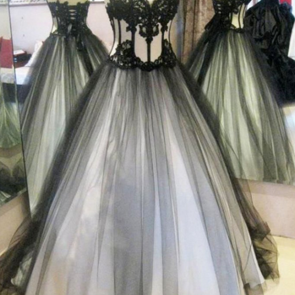 Black organza lace sweetheart long evening dresses,ball gown dress
