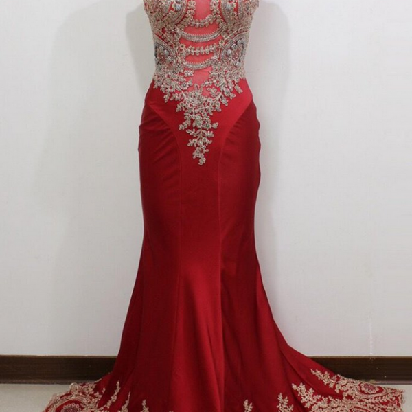 Luxury red satins lace see-through round neck long evening dresses,formal dress