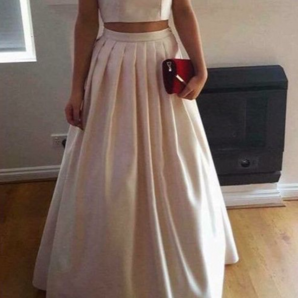 Two Piece Prom Dresses Party Dresses, Satin Long Formal Gowns