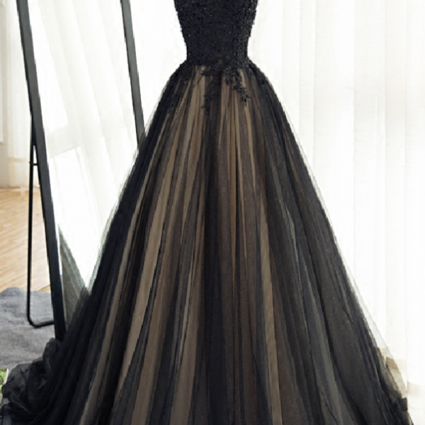 High Neck Prom Dress,Long Black Tulle Prom Dress,Lace Appliques Prom Gowns